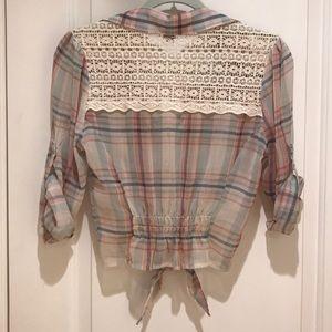 American Rag Plaid Sheer Shirt